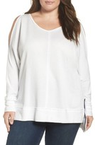 Plus Size Women's Caslon Cold Shoulder Sweatshirt