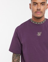 SikSilk oversized t-shirt in burgundy with tape collar
