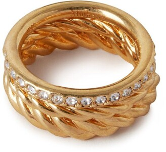 Mulberry Twist Ring Gold and Crystal Brass and Glass