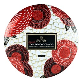 Voluspa Spiced Goji Tarocco Orange 3 Wick Decorative Tin Candle with Lid