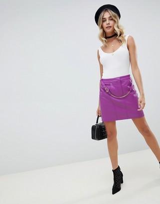 Asos Design DESIGN leather look mini skirt with detachable chain belt-Blue