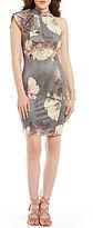 Mystic Floral Mockneck Ruffle-Sleeve Sheath Dress