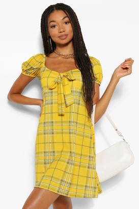 boohoo Tie Sleeve Front flannel Skater Dress