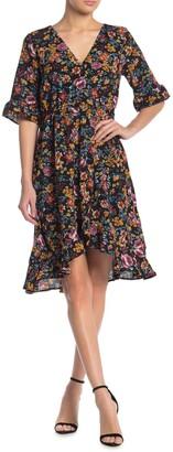 Bobeau Ruffle High/Low Faux Wrap Dress
