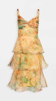 Marchesa Sleeveless Printed Floral Organza Dress