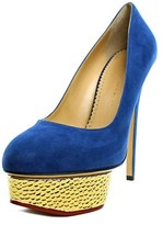 Charlotte Olympia Dolly Women Open Toe Suede Blue Platform Heel.