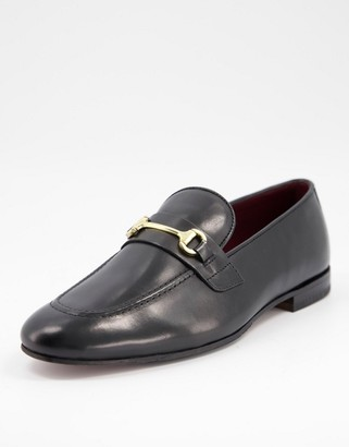 Walk London terry bar loafers in black leather