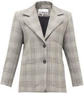 Ganni Single-breasted Prince Of Wales-check Blazer - Womens - Grey