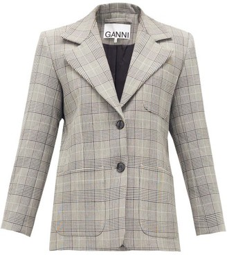 Ganni Single-breasted Prince Of Wales-check Blazer - Womens - Grey