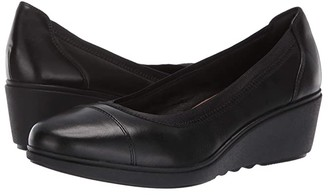 Clarks Un Tallara Liz (Black Leather) Women's Wedge Shoes