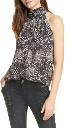 Joie Erola Mixed Print Mock Neck Blouse