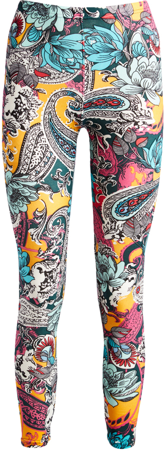 Yellow & Teal Paisley Leggings - Plus