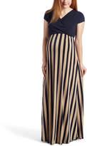 Glam Beige & Navy Stripes Maternity/Nursing Surplice Maxi Dress