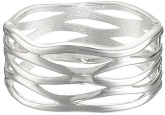 Robert Lee Morris Cut Out Hinge Bangle Bracelet (Silver) Bracelet
