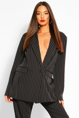 boohoo Oversized Dad Fit Tailored Pinstripe Blazer