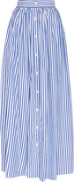 MDS Stripes Blue and White Cotton Striped Button Front Skirt