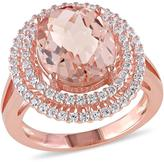 Sofia B 7 1/3 CT TW Morganite and Cubic Zirconia Sterling Silver Halo Ring