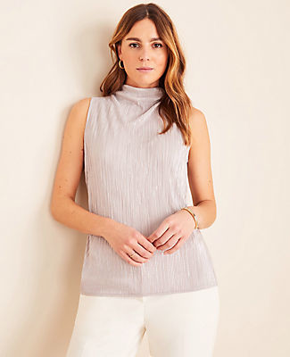 Ann Taylor Petite Micro Pleated Mock Neck Shell