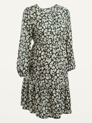 Old Navy Maternity Floral-Print Tie-Back Tiered-Hem Dress