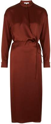 Vince Burgundy Silk Wrap Dress
