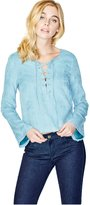 GUESS Addison Long-Sleeve Lace-Up Top