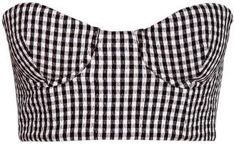Balmain Cropped Cotton Blend Gingham Bustier Top