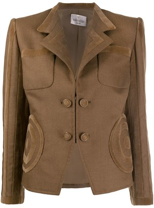 Valentino Pre-Owned 1990's Velvet Appliques Fitted Blazer