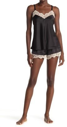 Flora Nikrooz Sleepwear Gabby Lace Trim Satin Camisole & Shorts Pajama 2-Piece Set
