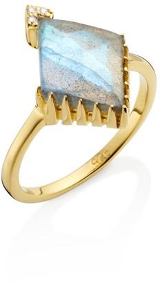 Fool's Gold Labradorite & Diamond Set Lozenge Ring