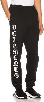 Vetements Gothic Logo Sweatpants in Black | FWRD