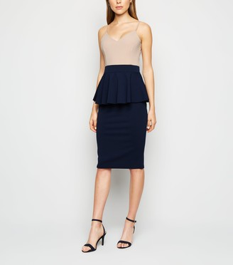 New Look Peplum Hem Strappy Midi Dress