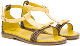 Fendi bow detail sandals - kids - Calf Leather/Leather/rubber - 28
