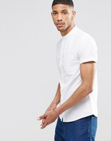 Asos Casual Skinny Oxford Shirt In White With Grandad Collar