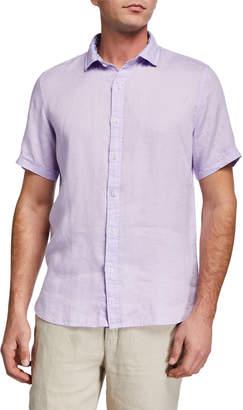 Neiman Marcus Men's Linen Short-Sleeve Shirt