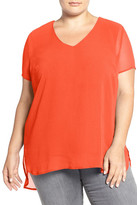 Vince Camuto Sheer V-Neck Blouse with Knit Underlay (Plus Size)