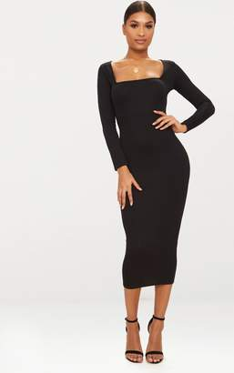 PrettyLittleThing Black Square Neck Long Sleeve Midaxi Dress
