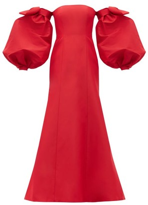 Carolina Herrera Detachable Puff-sleeve Silk-faille Gown - Red
