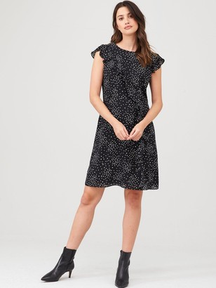 Wallis Speckled Spot Frill Fit & Flare Dress - Mono