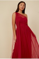 Thumbnail for your product : Little Mistress Bridesmaid Karter Red Bow Detail One-Shoulder Maxi Dress