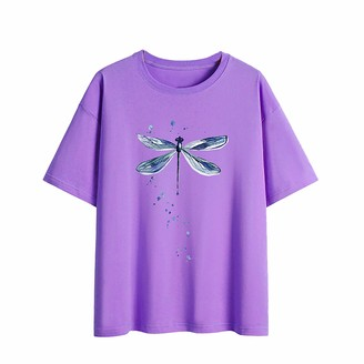jieGorge Blouse for Womens Couple Fashion Funny Watercolor Butterfly Print Pattern Round Neck Pullover Top