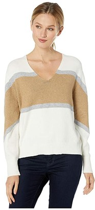 Vince Camuto Bubble Sleeve Color Block V-Neck Sweater (Antique White) Women's Sweater