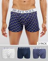 Brave Soul 3 Pack Bee Print Boxers