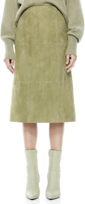 Alice + Olivia Maeve Suede Midi Slip Skirt