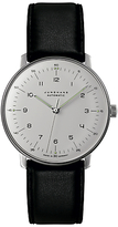 Junghans 027/3500.00 Max Bill Automatic Leather Strap Watch, Black/white