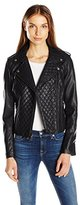Levi's Women's Faux Leather Assymetrical Diamond Quilted Motorcycle