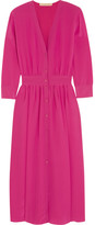 Vanessa Bruno Fossette Silk Crepe De Chine Midi Dress - Fuchsia