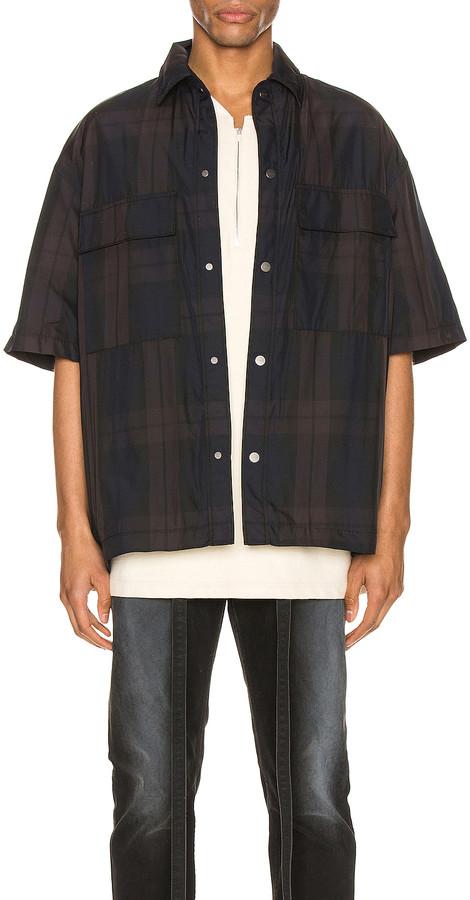 Fear Of God Oversized Nylon Shirt in Navy & Brown Plaid | FWRD
