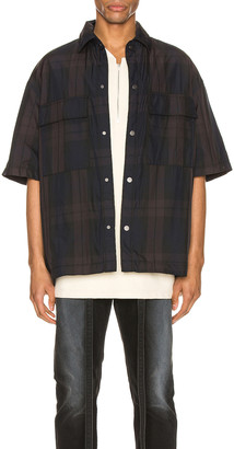 Fear Of God Oversized Nylon Shirt in Navy & Brown Plaid | FWRD