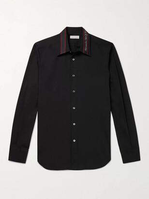 Alexander McQueen Slim-Fit Logo-Embroidered Stretch-Cotton Poplin Shirt