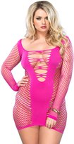 Leg Avenue Women's Plus Size Seamless Industrial Net Mini Dress